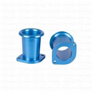 Paire de trompettes de carburateur d. 40 l. 60 anodisé bleu