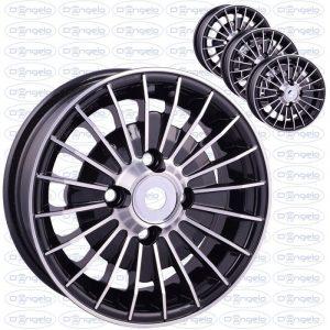 Serie cerchi in lega modello grifo finitura nero diamantato 4,5x12 attacco 4x98