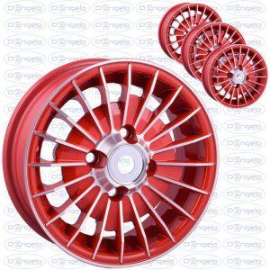 Serie cerchi in lega modello grifo finitura rosso diamantato 4,5x12 attacco 4x98