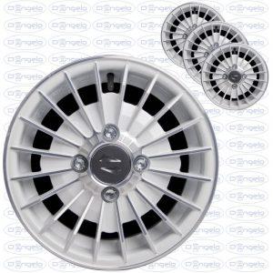 Serie cerchi in lega modello grifo finitura bianco diamantato 4,5x12 attacco 4x98