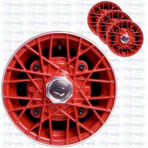 Serie cerchi in lega modello ray finitura rosso diamantato 4,5x12 attacco 4x190