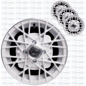 Serie cerchi in lega modello ray finitura bianco diamantato 4,5x12 attacco 4x98