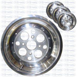 Serie cerchi in acciaio lucidato a specchio scomponibili 5x12 attacco 4x98