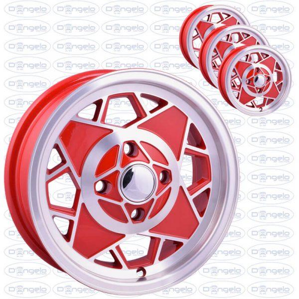 Cerchi in lega modello mille miglia finitura rosso diamantato attacco 4x98