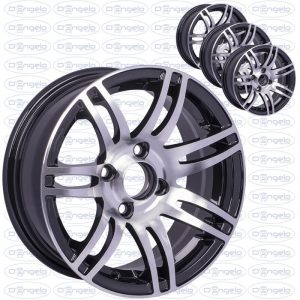 """Kit 4 shiny black alloy wheels with chromed spokes for fiat 500 and 126 - 13"""" attack 4x98"""