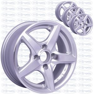"""Kit 4 star alloy wheels shiny silver for fiat 500 and 126 - 13"""" attack 4x98"""