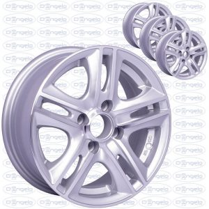 """Kit 4 alloy wheels shiny silver gray for fiat 500 and 126 - 13"""" attack 4x98"""
