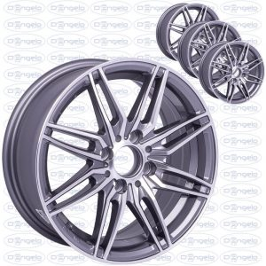 "Kit 4 satin gray alloy wheels with chromed spokes - 14"" fiat 4x98 connection"