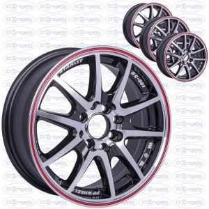 "Kit 4 shiny black alloy wheels with chromed spokes and red edge - 14"" fiat 4x98-108 connection"