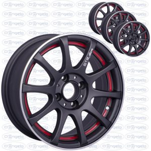 "Kit 4 matt black alloy wheels with red edge - 14"" fiat 4x98 connection"