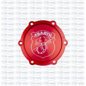 coperchio puleggia rosso anodizzato logo abarth